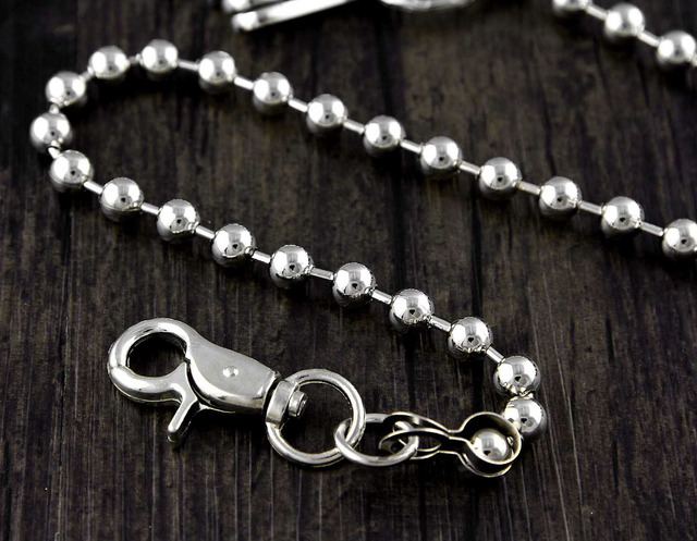 6e06e8645cee5 Marmor Link Einfache Starke Klassische Biker Schlüssel Jean Brieftasche Kette  Silber 22