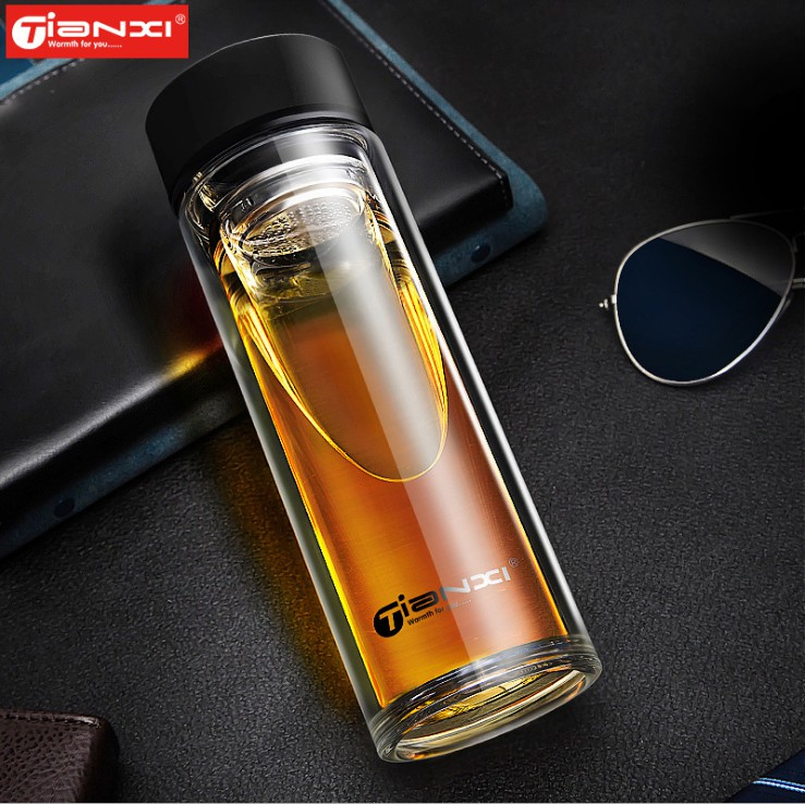 520ml Tea Glass Water Bottle Male Gift Office Infuser Double wall Glass bottles with stainless steel Filter Sport Water Tumbler