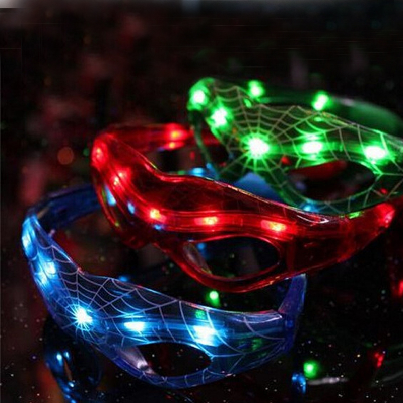 <font><b>Glow</b></font> <font><b>in</b></font> <font><b>dark</b></font> 8LEDs Glowing <font><b>Spiderman</b></font> Hero Glasses For Wedding Birthday Festival Halloween Party Supply Decors