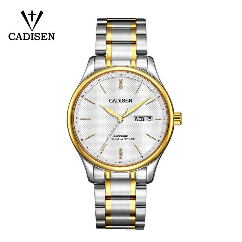 Hot Sale Dropshipping CADISEN Automatic Mechanical Watches Men Business Casual Waterproof Stainless Steel Band relogio masculino