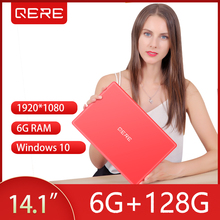 QERE 14.1 inch Laptop With 6G RAM 128G SSD Gaming Laptops Ultrabook intel j3455 Quad Core Win10 Note