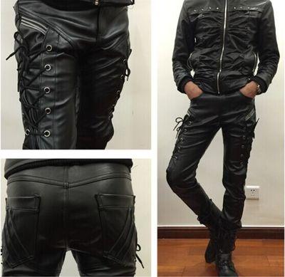 Черные облегающие джинсы из искусственной кожи для мужчин, брюки в стиле панк, хип-хоп, мужские брюки для мотоцикла, популярные мужские модные брюки для мужчин - Цвет: full leather