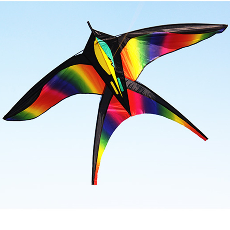 free shipping rainbow swallow kite nylon with handle single line kite eagle kite flying bird kite factory new emma wholesales