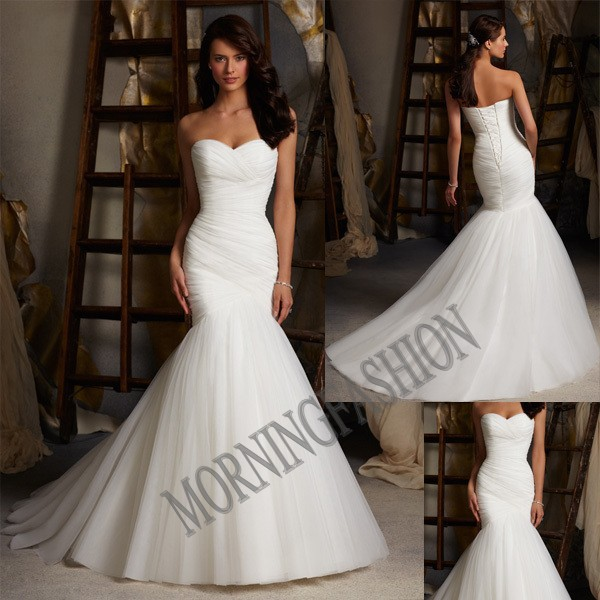 2014 retail new style Mermaid wedding dresses Bride floor-length yarn. - Dream blue store
