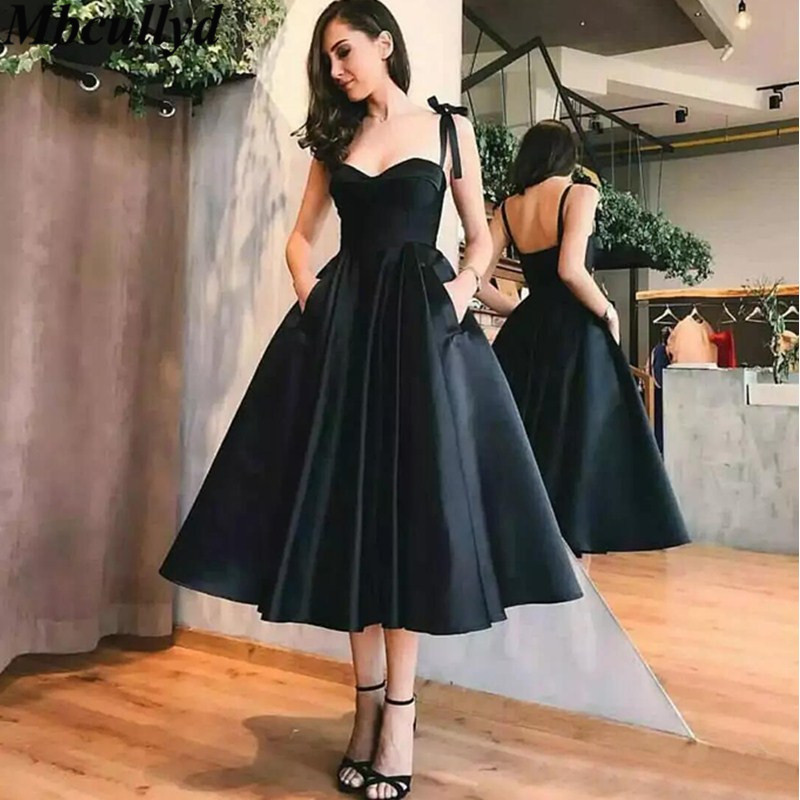 Mbcullyd New Elegant Black   Bridesmaid     Dress   2019 Tea Length Satin Wedding Party Gowns Cheap Under 100 Vestidos de fiesta