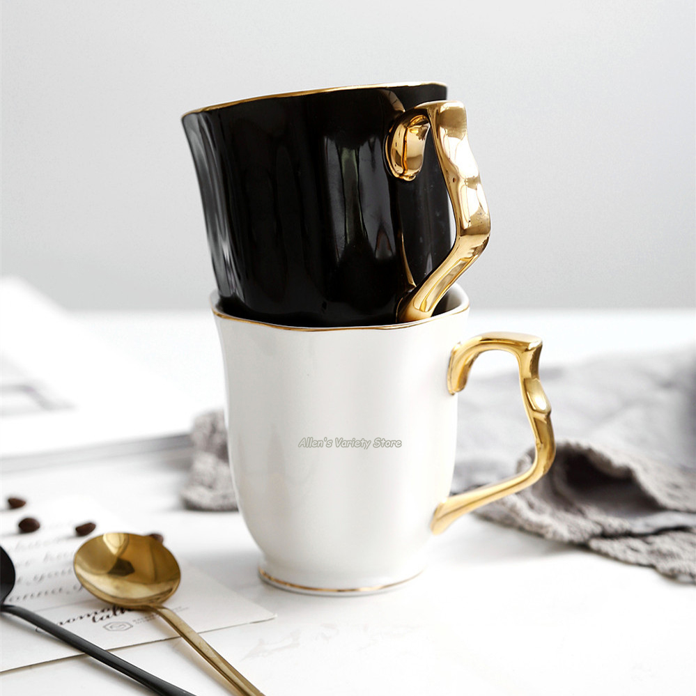 Drinkware Teacup Gilded Mug 330ml Golden Ceramic Mug Porcelain Coffee Mug 45% Bone China Milk Cup gilding Mug gold-plating Cup
