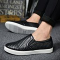 New 2017 Famous Luxury Brand Designer Woven Genuine Leather Men Shoes Spring Autumn Fashion Casual Men Flats Loafer Size 39-44
