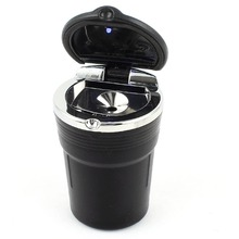 Black Portable LED Light Auto Car Smoking Cigarette Ash Tray Home Ashtray Cylinder Shaped Popular