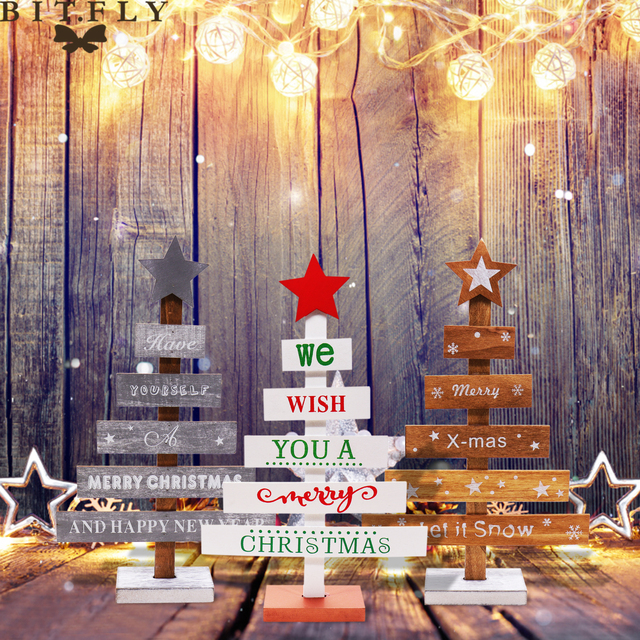 FLY 1PC Merry Christmas Tree Shape Wood Table Festival Party Decorations Home DIY Crafts Decor For New Year
