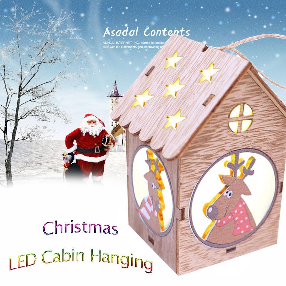 LED Light Wooden Dolls House Villa Christmas Ornaments Xmas Tree Hanging Decor 10.24-in Trees ...