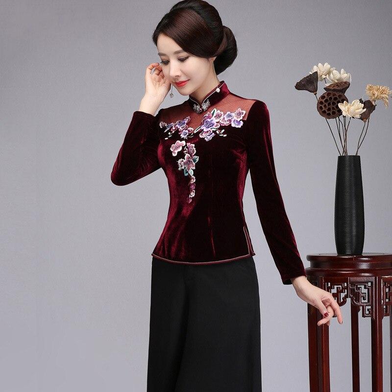 Broderie Floral élégant femmes chemise grande taille 3XL 4XL automne hiver velours Blouse Style chinois Tang hauts vêtements traditionnels