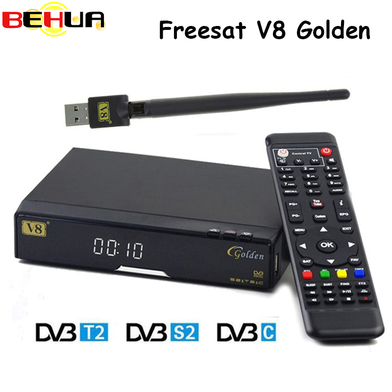 V8 Golden DVB-S2/ DVB-T2 DVB-C Receptor satellite receiver Decoder with 1 year Europe Cline server 7 Clines USB WIFI set top box de it es channels dvb s s2 satellite fta lines 1 year cccam clines newcamd usb wifi satellite tv receiver for free shipping