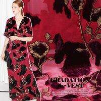 Golden flower hot stamping burnt out silk velvet fabric for dress telas por metros tissu au metre tissus tecido tela shabby chic