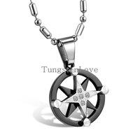 Necklaces Pendants Faith 316L Stainless Steel Celestial Maps Star Pendant Necklace For Men Women Black Tone