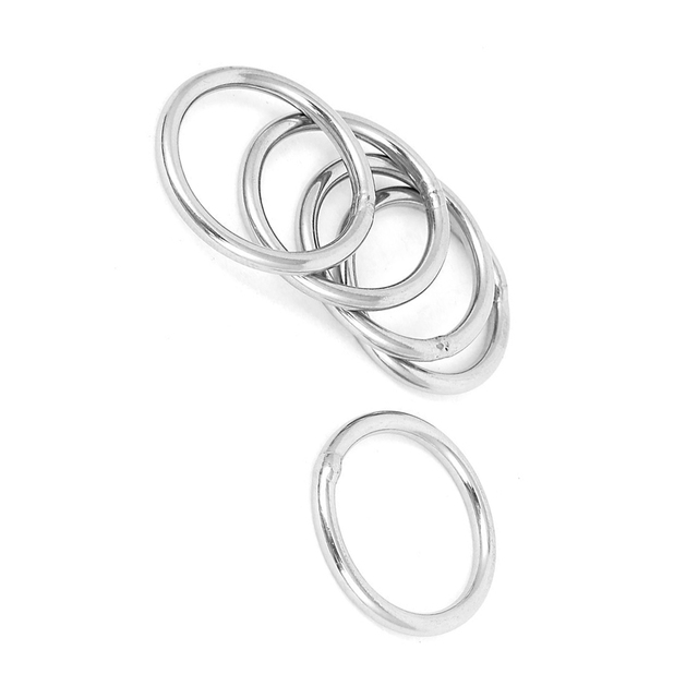Practical Boutique 30mm x 3mm Stainless Steel Webbing Strapping Welded O Rings 5 Pcs