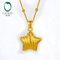 CAIMAO 24 К чистого золота звезда Очаровательная подвеска подарок любовника Настоящее 999 3d Жесткий процесс ювелирные украшения