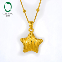 CAIMAO 24K Pure Gold Star Shape Charm Pendant Lover Gift Real 999 3d Hard Gold Process Fine Jewelry