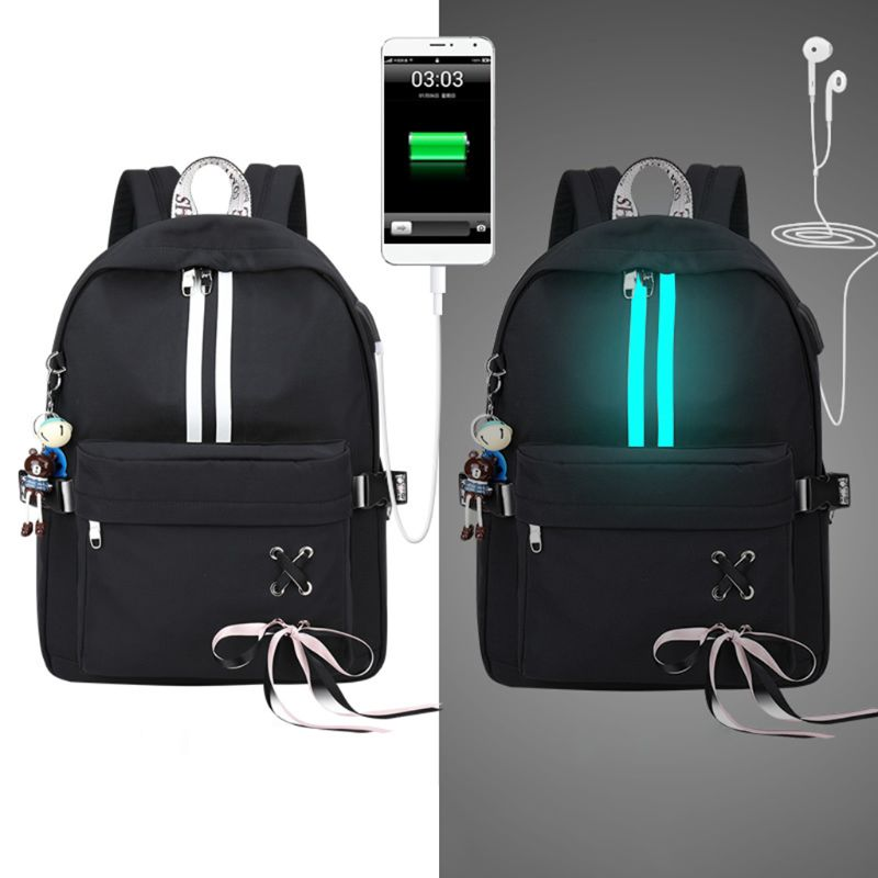 2019 Fashion Anti Theft Reflective Women Backpack USB Charge Earphone Hole School Bags Girls Travel Laptop Bagpack Bookbags