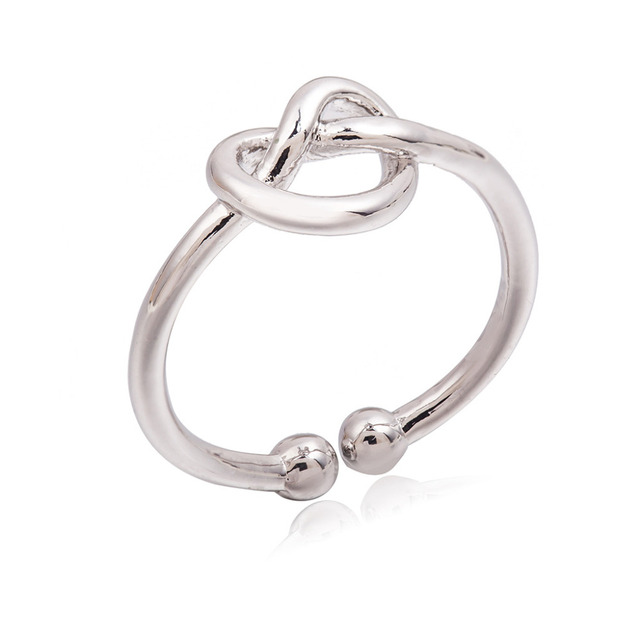 Gold Silver Black Heart Open Rings Hollow Knot Ring Women Fashion