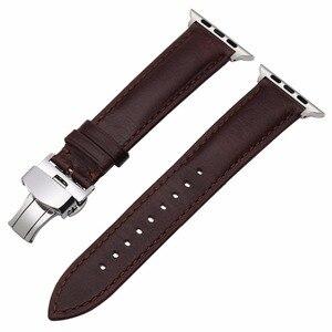 Image 5 - Italiaanse Lederen Horlogeband Voor Iwatch Apple Horloge 5 4 3 2 38Mm 40Mm 42Mm 44Mm stalen Vlindersluiting Band Polsband Riem