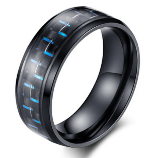 Mens Rings Blue Red Green Color Carbon Fiber L Stainless Steel Wedding Rings For