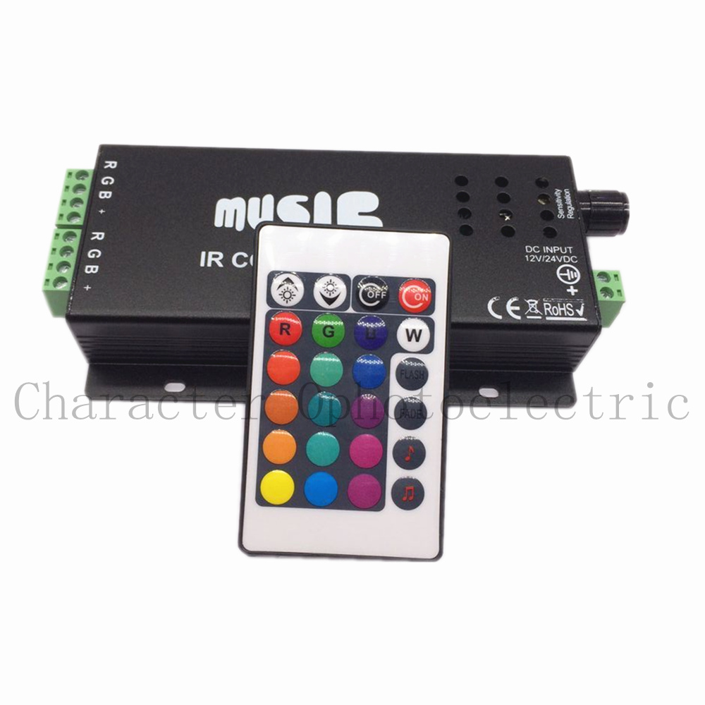 12V - 24V 12A Sound Activated Music Controller Black Color with 24key IR Remote Control 144W 2 Ports Output for RGB LED Strip