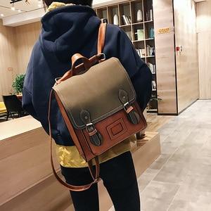 Image 4 - Vintage Pu Leather Women Backpack Preppy Style Backpacks Women Fashion School Bag College Backpack Women Shoulder Bags Mochilas