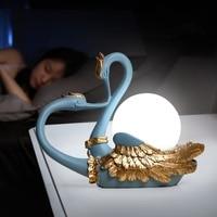 Indoor Decor Led Table Lamp Modern Simple Art Deco Swan Animal Bird Lamp Living Room Bedroom Bedside Lamp Ball Glass Desk Lamp