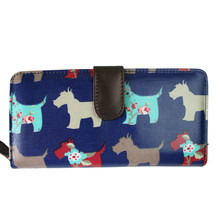 Women Men Scottie Dog  Oilcloth Long Purse Coin Wallet Handbag Clutch Hand Bag L1109