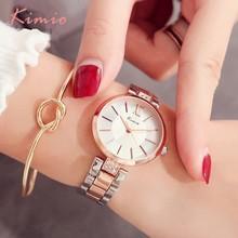 KIMIO tunt ur Kvinnor mode Enkla klockor Rhinestones klänning kvinna klocka Rose Gold Quartz Ladies Kvinna Klocka Armbandsur
