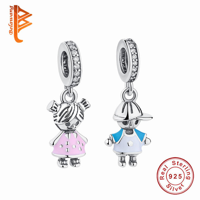 BELAWANG 100% 925 Sterling Silver Couple Little Boy Charm fit Pandora Charm Bracelet Little Girl Silver Jewelry Making