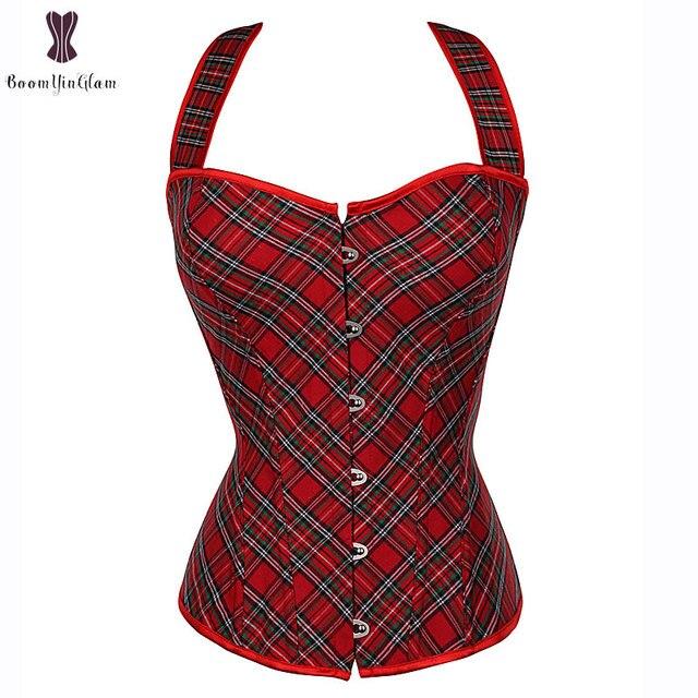 Halterneck Lattice Corset Overbust Sexy Red Korset Waist Slimming Fish Boned Korsett For Women Outfit Gorset Top Bustier Cincher