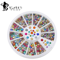 Beautome Hot Sale Colorful Half Round Nail Pearls With Metal Studs Rhinestones Wheel Nail Decoration Supplies  HS-0490