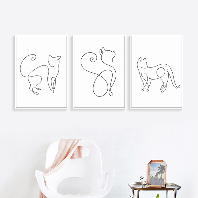 Abstract Line Curve Cat Canvas Poster 1