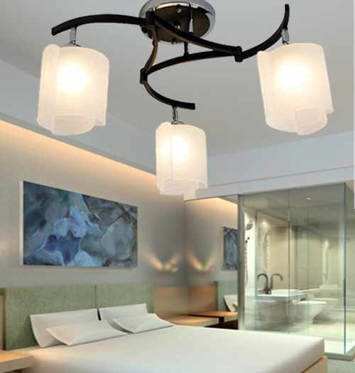 Glass iron Ceiling Lights Brief bedroom living room lights study light restaurant amp rocker arm lighting 3head ceiling lamps ZA