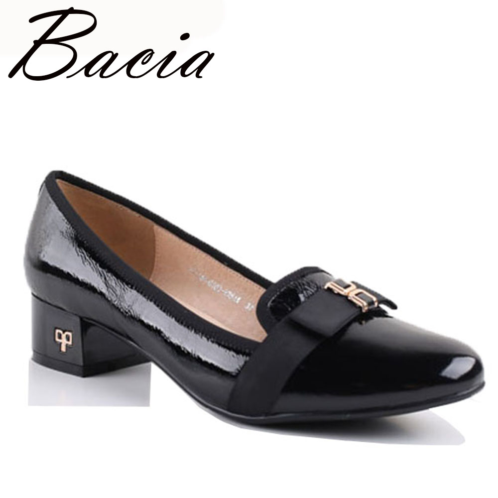 2a8d4c5f3257 Bacia Spring Summer Shoes Women Genuine Leather Shoes Round Toe Slip on  Pumps Sapato feminino Patent