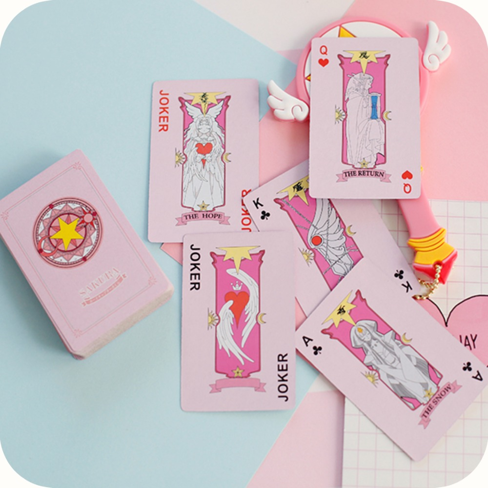 Anime Cardcaptor Sakura Clow Card Captor Saku Poker Cards Character Deck Toys Kinomoto Li Syaoran Model Toy 54 Pcs In Pack Action Figures Aliexpress