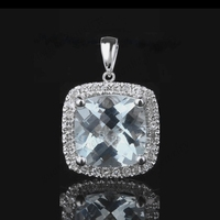 1.3CT Genuine Aquamarine Solid 14k White Gold Wedding Natural Diamonds Pendant