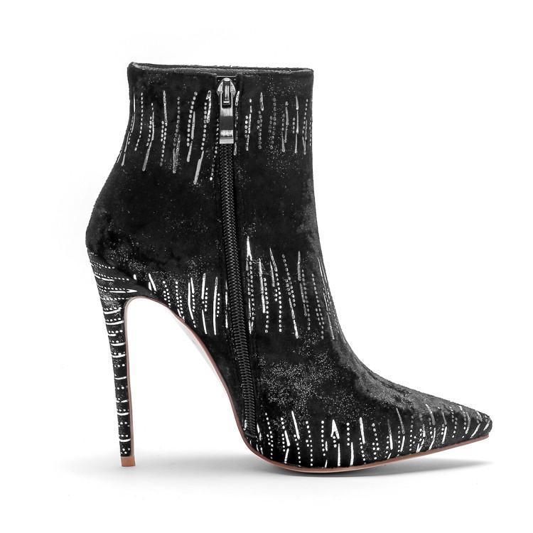 Noir Chaussures Bottes Rayé De Chic Zapatos En Blanc Pointu Chaussons Hauts Bout Pour Mode Daim Talons Dames Femme Cheville Hiver Femmes A6q5w1Xx