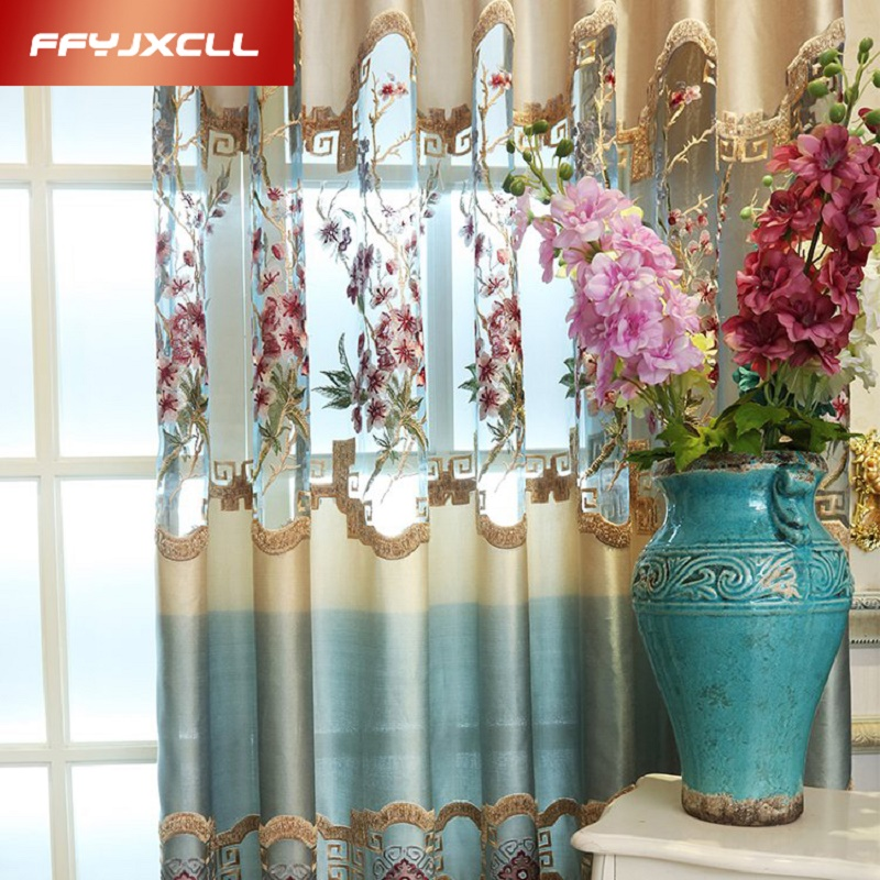 1 Pc Curtain And 1 Pc Tulle Peony Luxury Window Curtains: 1 PC Luxury Europe Blue Royal Luxury Embroidered Tulle For