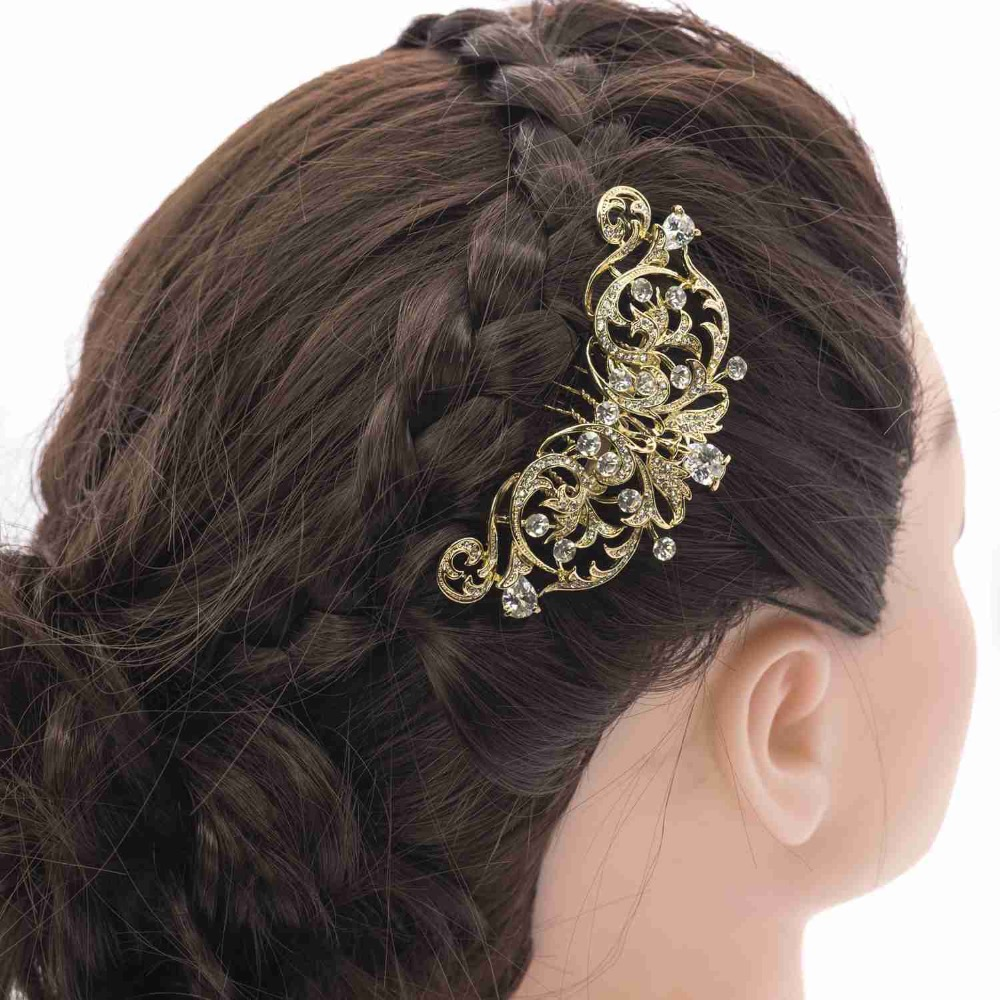 Cristais de strass claros pente de cabelo lado nupcial hairpin - Bijuterias - Foto 6