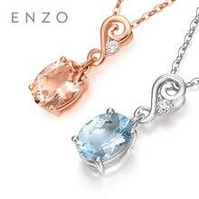 ENZO Natural Gemstone Aquamarine/Morganite With Diamond Genuine 18K Rose/White Gold Pendants Necklaces