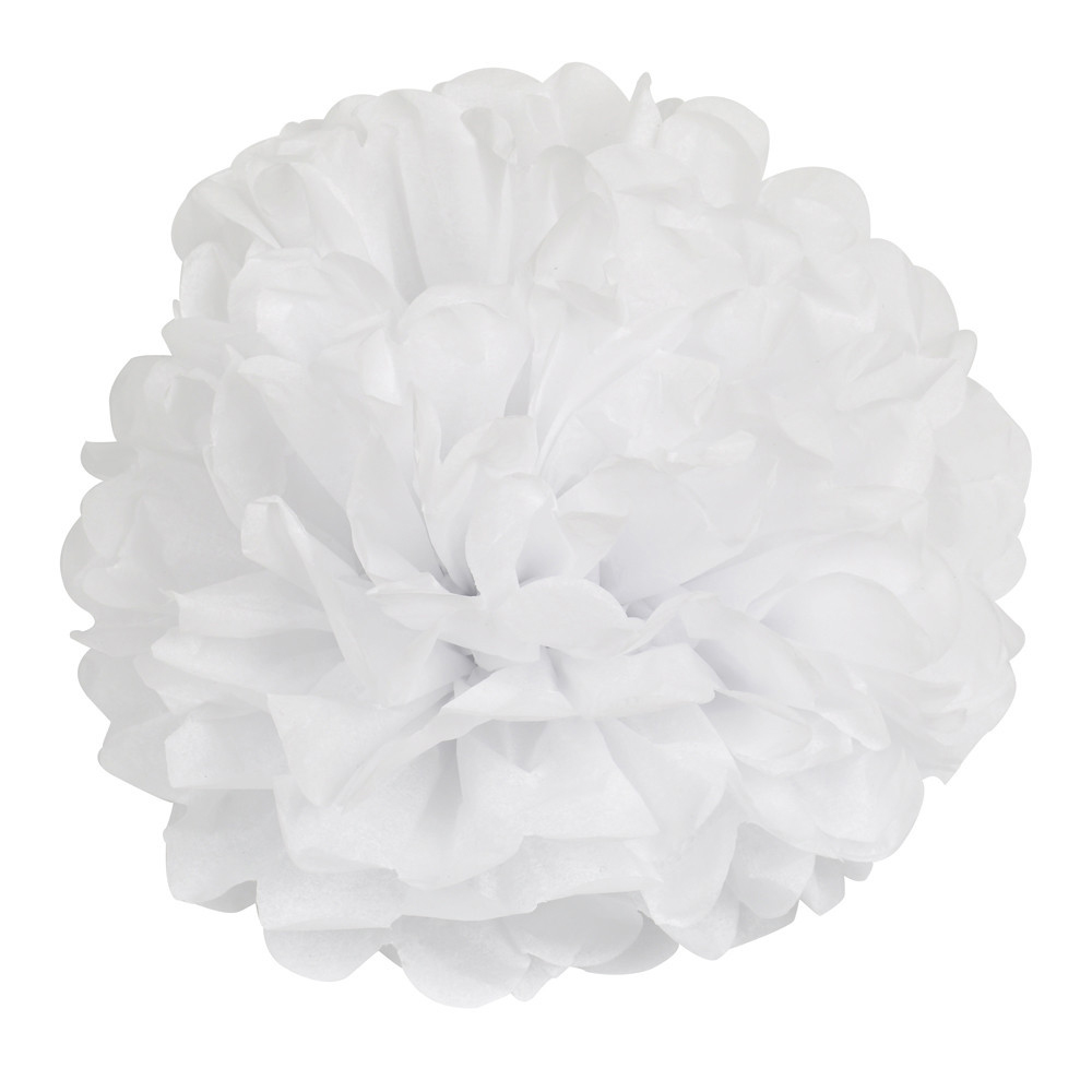 14 inch (35 cm) Tissue Paper POMPOMS Flower Balls Home Decor Festive & Party Supplies Wedding Favors-white