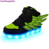 HaoChengJiaDe Boys Girls Shoes Fashion LED Lights USB Luminous Wings Sneakers Children Comfortable Flats Sport Top