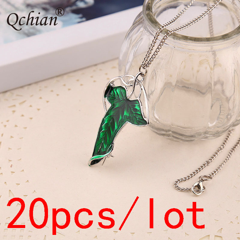 20pcs/lot Zinc Alloy Green Leaf Necklace Elf Prince Princess Decorative Pendant Very Beautiful Jewelry For Women