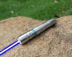 Najbardziej wydajna paląca się latarka laserowa 450nm 80000 m z możliwością ustawiania ostrości niebieski wskaźniki laserowe latarka burn match świeca zapalonego papierosa