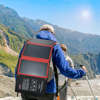 PowerGreen Flexible Solar Backpack 21W SUNPOWER Solar Charger Cell Phone Solar Power Bank for Traveling