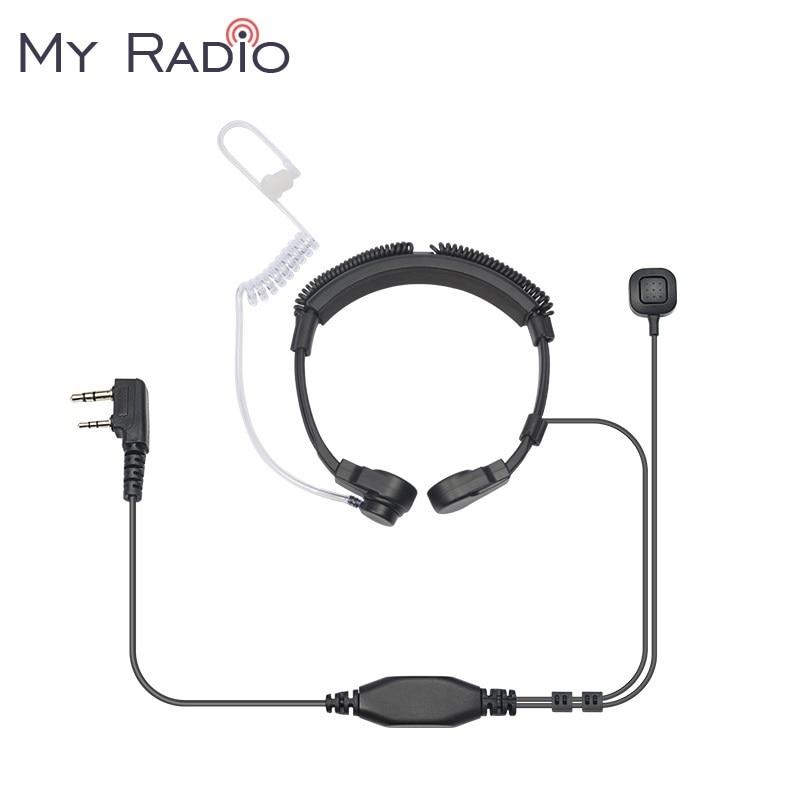 2 Pin Covert Acoustic Tube Earpiece Headset PTT Throat MIC Microphone Earphone For Baofeng UV5R For Kenwood KPG Throat Earbud