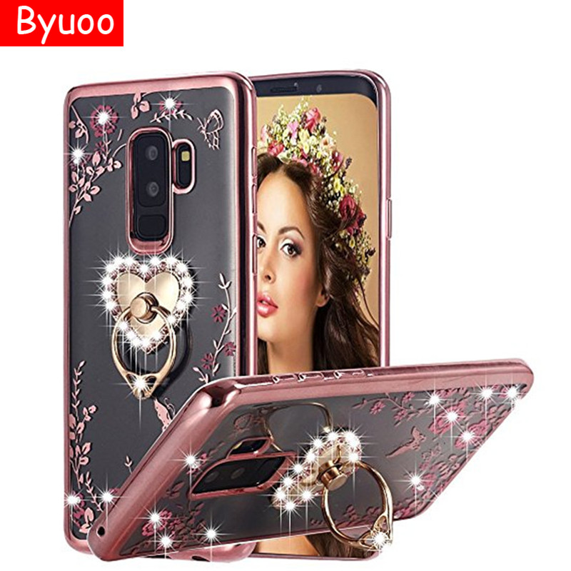 TPU Glitter <font><b>Case</b></font> <font><b>Ring</b></font> Cover for <font><b>Samsung</b></font> <font><b>Galaxy</b></font> M10 A30 A50 <font><b>A70</b></font> A20 S A10S S9 S8 A6 Plus A7 A9 2018 Note10 8 9 J3 J5 J7 A5 2017 image