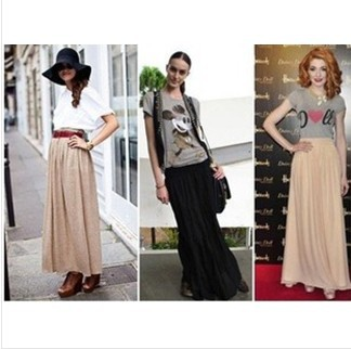 Image 2 - Free Shipping New Brand Designer Hot Sale Candy Colors High Quality Sexy Long Chiffon Skirt Pink Blue Black Red White Green C003-in Skirts from Women's Clothing
